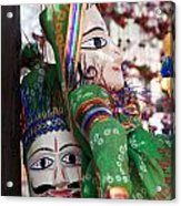 Pair Of Large Puppets At The Surajkund Mela Acrylic Print