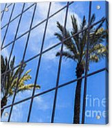 Palm Trees Reflection On Glass Office Building Acrylic Print by Paul Velgos