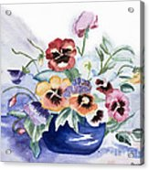 Pansies In Blue Pot Acrylic Print