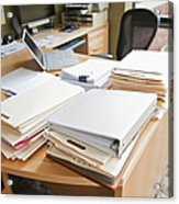 Paperwork On An Office Desk Acrylic Print by Jetta Productions, Inc