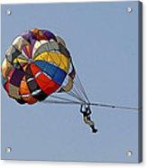 Paraglider Blue Acrylic Print by Kantilal Patel