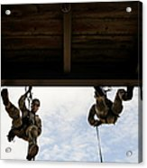 Pararescuemen Take Part In A Rappelling Acrylic Print