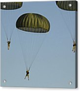 Paratroopers Descend Through The Sky Acrylic Print