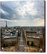 Paris And Eiffel Tower At Sunset Acrylic Print