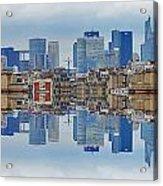 Paris La Defense And Trocadero Skyline Mirrored Acrylic Print