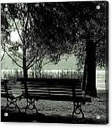 Park Benches In Autumn Acrylic Print