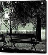Park Benches In Autumn Acrylic Print by Joana Kruse