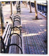 Park Benches In Hoboken Acrylic Print by George Oze