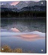 Partially Frozen Spillway Lake At Acrylic Print
