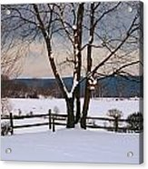 Pastoral View Of A Farm Covered In Snow Acrylic Print