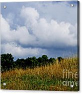 Pasture Field And Stormy Sky Acrylic Print