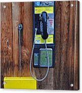 Pay Phone And Book Wooden And Yellow Acrylic Print