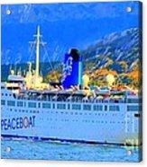 Peace Boat Along South America Coastline Acrylic Print