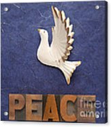 Peace Word With Dove Acrylic Print