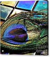 Peacock Feather On Tiles Acrylic Print