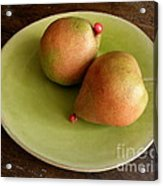 Pears On Heart Plate Acrylic Print