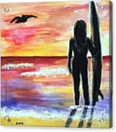 Pelican And The Surfer Girl Acrylic Print