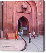People Entering The Entrance Gate To The Red Colored Red Fort In New Delhi In India Acrylic Print