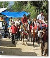 People On Horseback And On Foot Making The Climb To The Vaishno Devi Shrine In India Acrylic Print
