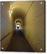 People Starting To Walk Down A Tunnel In Dover Castle Acrylic Print