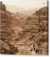 People Walk Along A Path Acrylic Print by Taylor S. Kennedy
