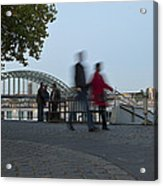 People Walk Along The Rhine River Acrylic Print
