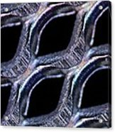 Perforated Steel Sheet, Light Micrograph Acrylic Print by Pasieka