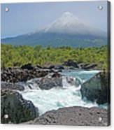 Petrohue Falls And Osorno Volcano Acrylic Print