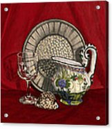Pewter Dish With Red Cloth. Acrylic Print by Raffaella Lunelli
