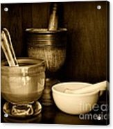 Pharmacy - Mortars And Pestles - Black And White Acrylic Print