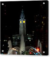 Philadelphia City Hall And Swann Fountain At Night Acrylic Print