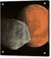 Phobos And Mars, Artwork Acrylic Print by Richard Bizley