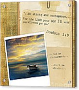 Photo Of Boat On The Sea With Bible Verse Acrylic Print