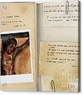 Photo Of Crucifix With Bible Verses. Acrylic Print