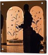 Photographers In Silhouette At A Heritage Building In Rajasthan In India Acrylic Print