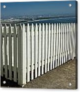 Picket Fence By The Cabrillo National Monument Lighthouse In San Diego Acrylic Print