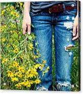 Picking Flowers Acrylic Print by Kim Fearheiley