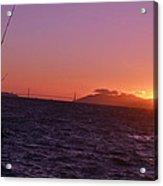 Picking Through The Bridge Sunset Acrylic Print