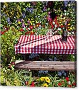 Picnic Table Among The Flowers Acrylic Print