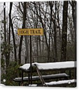 Picnic Table In Snow Acrylic Print by Will and Deni McIntyre