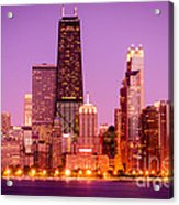 Picture Of Chicago Skyline By Night Acrylic Print
