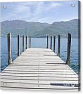 Pier And Snow-capped Mountain Acrylic Print