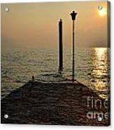 Pier And Sunset Acrylic Print