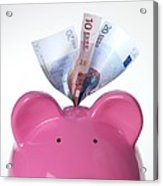 Piggy Bank And Euros Acrylic Print by Tek Image