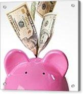 Piggy Bank And Us Dollars Acrylic Print by Tek Image