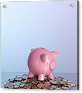 Piggy Bank On Pile Of Coins Acrylic Print