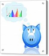 Piggy Bank With Graph Acrylic Print