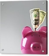 Piggy Bank With Us Dollars Acrylic Print by Tek Image
