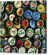 Pile Of Beer Bottle Caps . 2 To 1 Proportion Acrylic Print by Wingsdomain Art and Photography