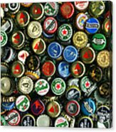 Pile Of Beer Bottle Caps . 8 To 12 Proportion Acrylic Print by Wingsdomain Art and Photography